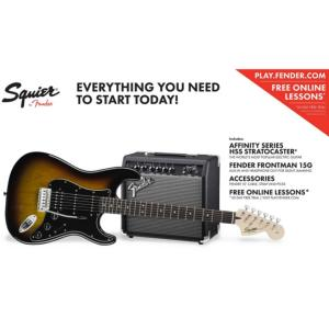 PACK GUITARE ELECTRIQUE SQUIER STRATOCASTER AFFINITY SERIES HSS BROWN SUNBURST