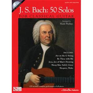 BACH JEAN SEBASTIEN - 50 SOLOS FOR CLASSICAL GUITAR TAB+ CD