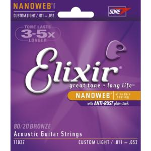 JEU DE CORDES GUITARE FOLK ELIXIR NANOWEB 11027 CUSTOM LIGHT 11-52