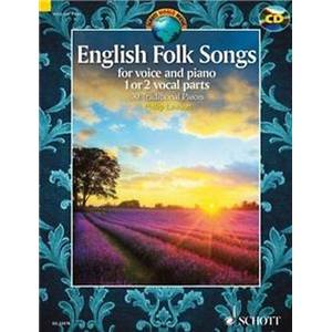 ENGLISH FOLK SONGS + CD (30 PIECES TRADITIONNELLES ANGLAISES)  - 1 OU 2 VOIX ET PIANO