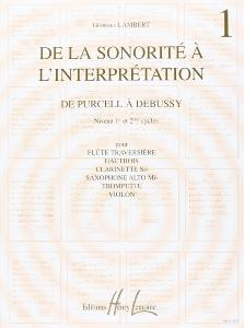 LAMBERT GEORGES - DE LA SONORITE A  L'INTERPRETATION VOL.1 DE PURCELL A  D - FL / VIOL / HTB / TROMP