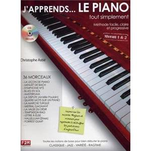 ASTIE CHRISTOPHE - J'APPRENDS ...LE PIANO TOUT SIMPLEMENT NIVEAU 1 & 2 + CD