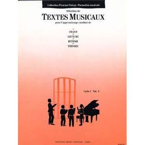 FLEURANT/VOIRPY - TEXTES MUSICAUX CYCLE 1 VOL.1 - FORMATION MUSICALE