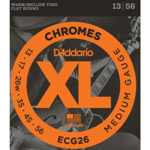 JEU CORDES GUITARE D'ADDARIO XL CHROME FILE PLAT ECG26 MEDIUM 13-56