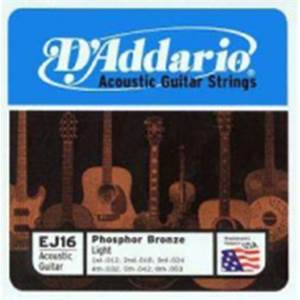 JEU DE CORDES GUITARE FOLK D'ADDARIO EJ 16 BRONZE LIGHT
