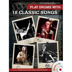 COMPILATION - PLAY DRUMS WITH 18 CLASSIC SONGS + CD ÉPUISÉ