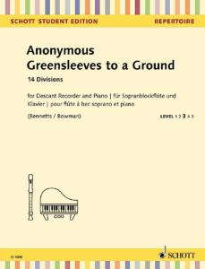 ANONYME - GREENSLEEVES TO A GROUND - FLUTE A BEC SOPRANO ET PIANO
