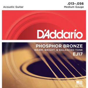 JEU DE CORDES GUITARE FOLK D'ADDARIO EJ17 MEDIUM