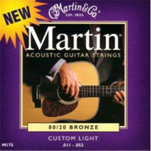 JEU CORDES GUITARE FOLK MARTIN M175 CUSTOM LIGHT 11-52 PHOSPHORE BRONZE