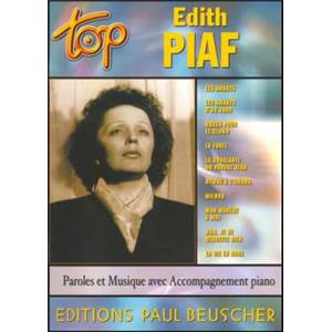 PIAF EDITH - TOP PIAF EDITH PIANO SIMPLIFIE PAROLES ET ACCORDS