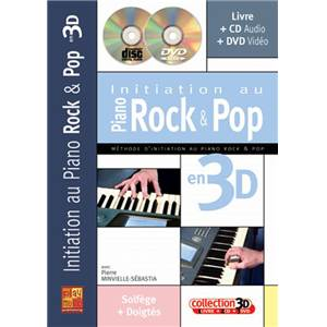 MINVIELLE SEBASTIA PIERRE - INITIATION PIANO ROCK POP EN 3D + CD + DVD