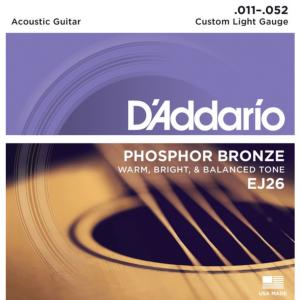 JEU DE CORDES GUITARE FOLK D'ADDARIO EJ26 CUSTOM LIGHT