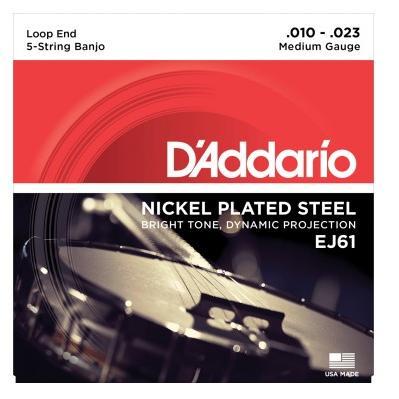 D/'Addario EJ61 5 String Banjo Nickle Medium 10-23 j61