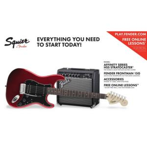PACK GUITARE ELECTRIQUE SQUIER STRATOCASTER AFFINITY SERIES HSS CANDY APPLE RED