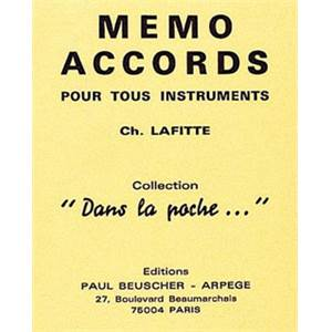 BEUSCHER - MEMO ACCORDS TOUS INSTRUMENTS CARTE PLASTIFIEE FORMAT POCHE