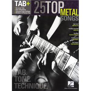 COMPILATION - TAB+ 25 TOP METAL SONGS TAB. TONE TECHNIQUE GUITAR RECORDED VERSION