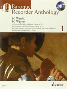 BAROQUE RECORDER ANTHOLOGY VOL.1 +CD - FLUTE A BEC SOPRANO ET PIANO OU GUITARE