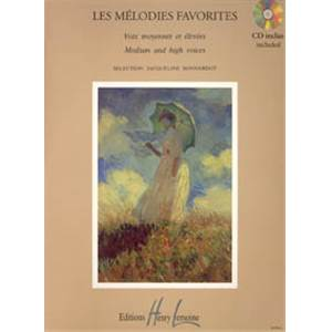 BONNARDOT JACQUELINE - MELODIES FAVORITES + CD - VOIX ELEVEES OU MOYENNES ET PIANO