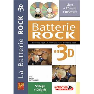 MEYRONNIN PATRICK - BATTERIE ROCK EN 3 D METHODE + CD + DVD