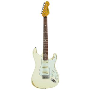 GUITARE ELECTRIQUE VINTAGE ICON SERIES STRAT V6 MR WW WOODSTOCK WHITE