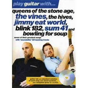 COMPILATION - Q.O.T.S.A, ,BLINK 182, SUM 41... PLAY GUITAR WITH TAB. + CD